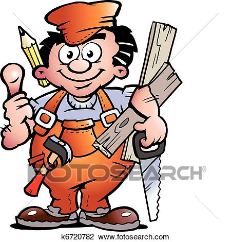 Clipart - Carpenter Handyman. Fotosearch - Search Clip Art, Illustration  Murals, Drawings and