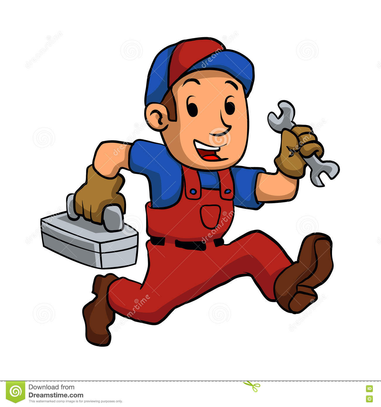 Handyman Running With A Toolbox. Vector illustration Royalty Free Stock  Image