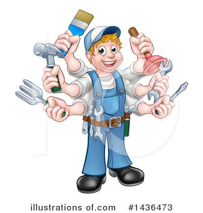 Royalty-Free (RF) Handyman Clipart Illustration #1436473 by  AtStockIllustration