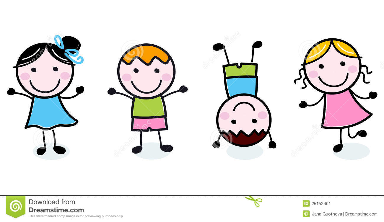 happy kids clipart black and white