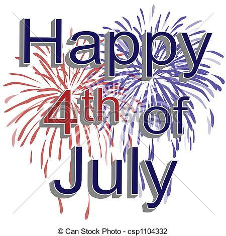 Happy 4th of July Fireworks - Graphic illustration of red,.