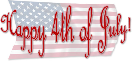 Happy 4th of July on American Flag