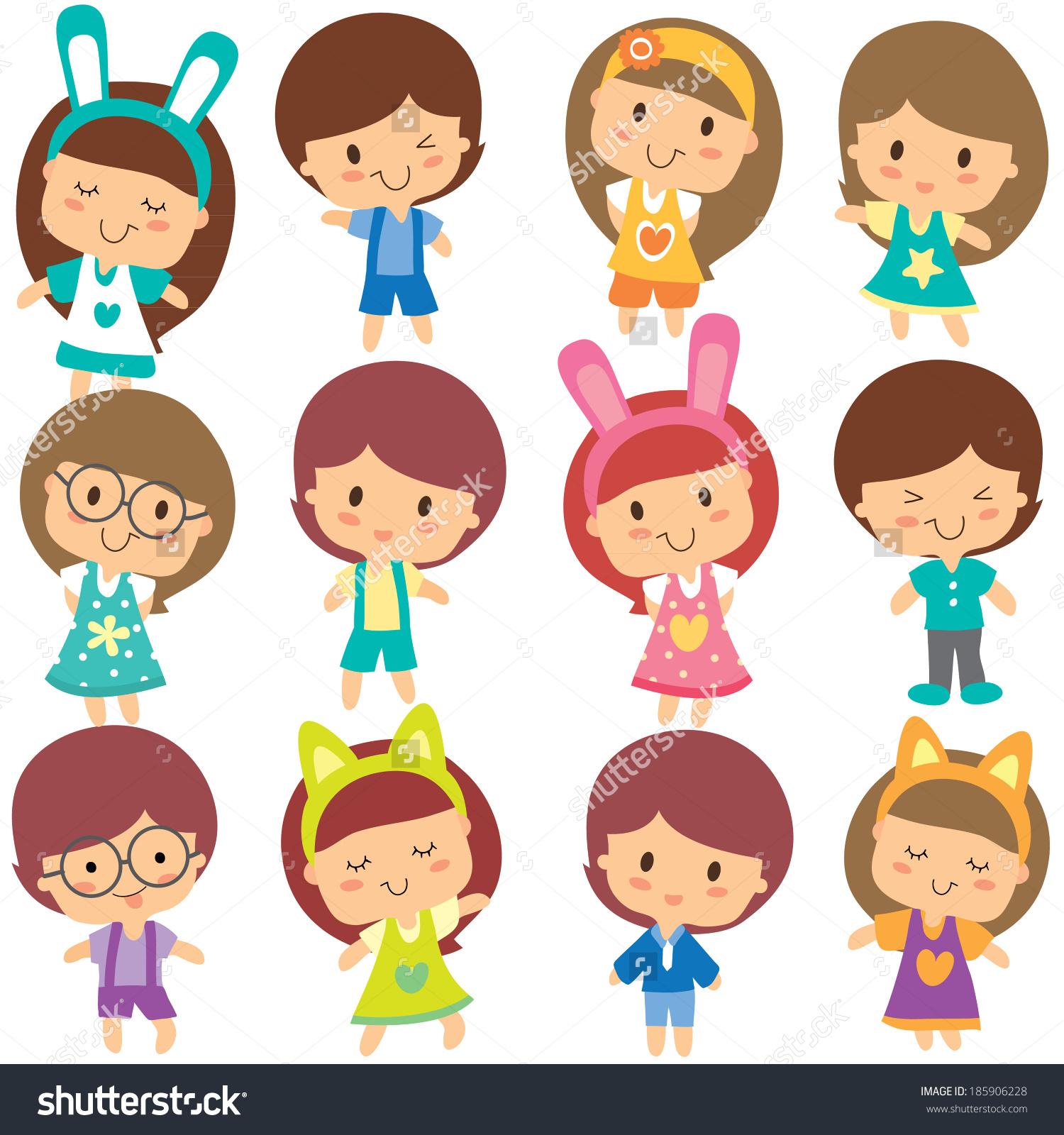 happy children clip art set