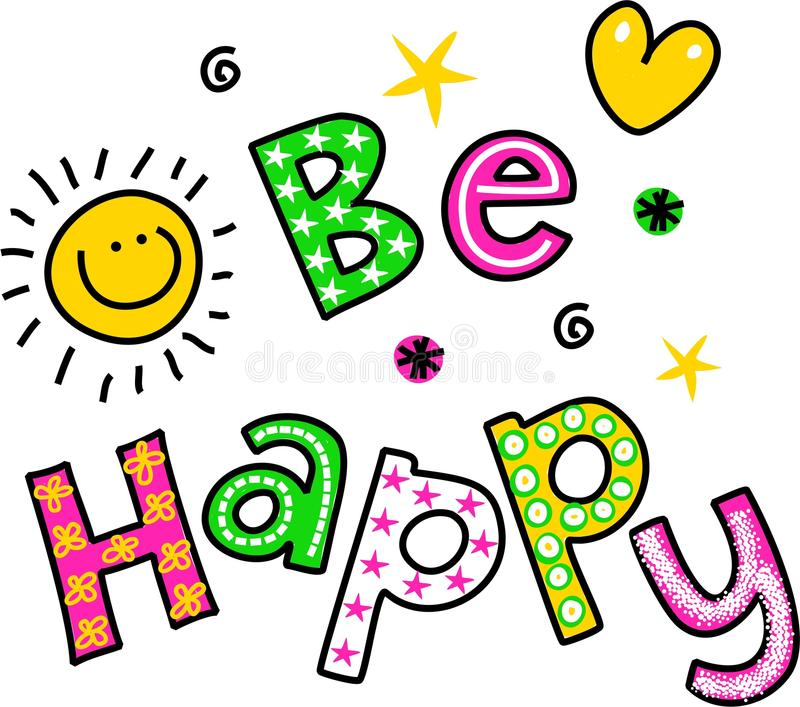 Download Be Happy Clipart Text stock illustration. Illustration of text -  43718898