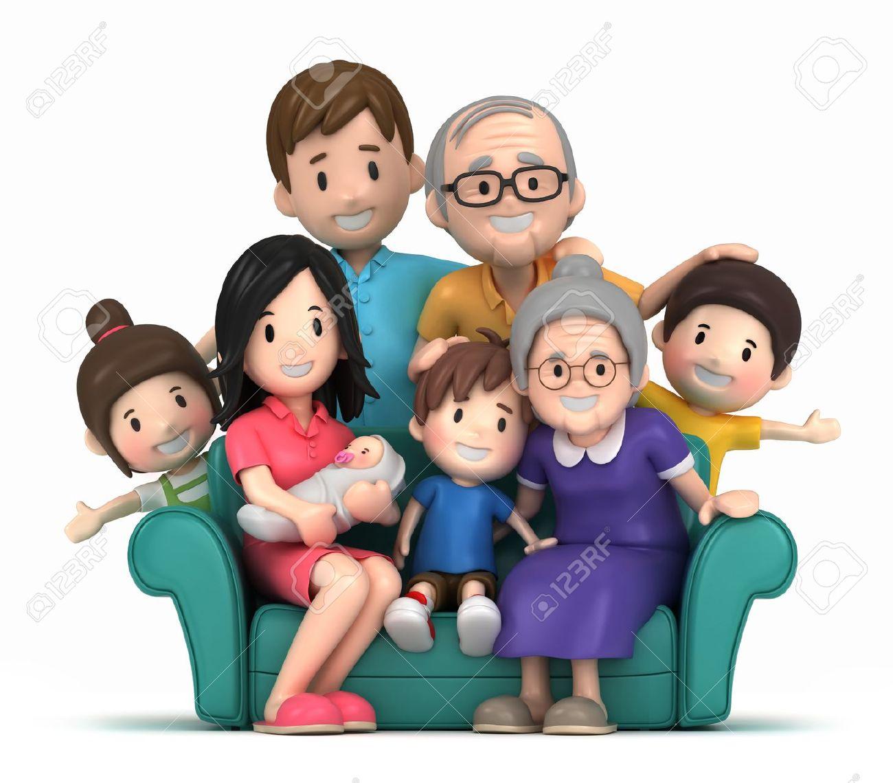 happy family: 3D render of .