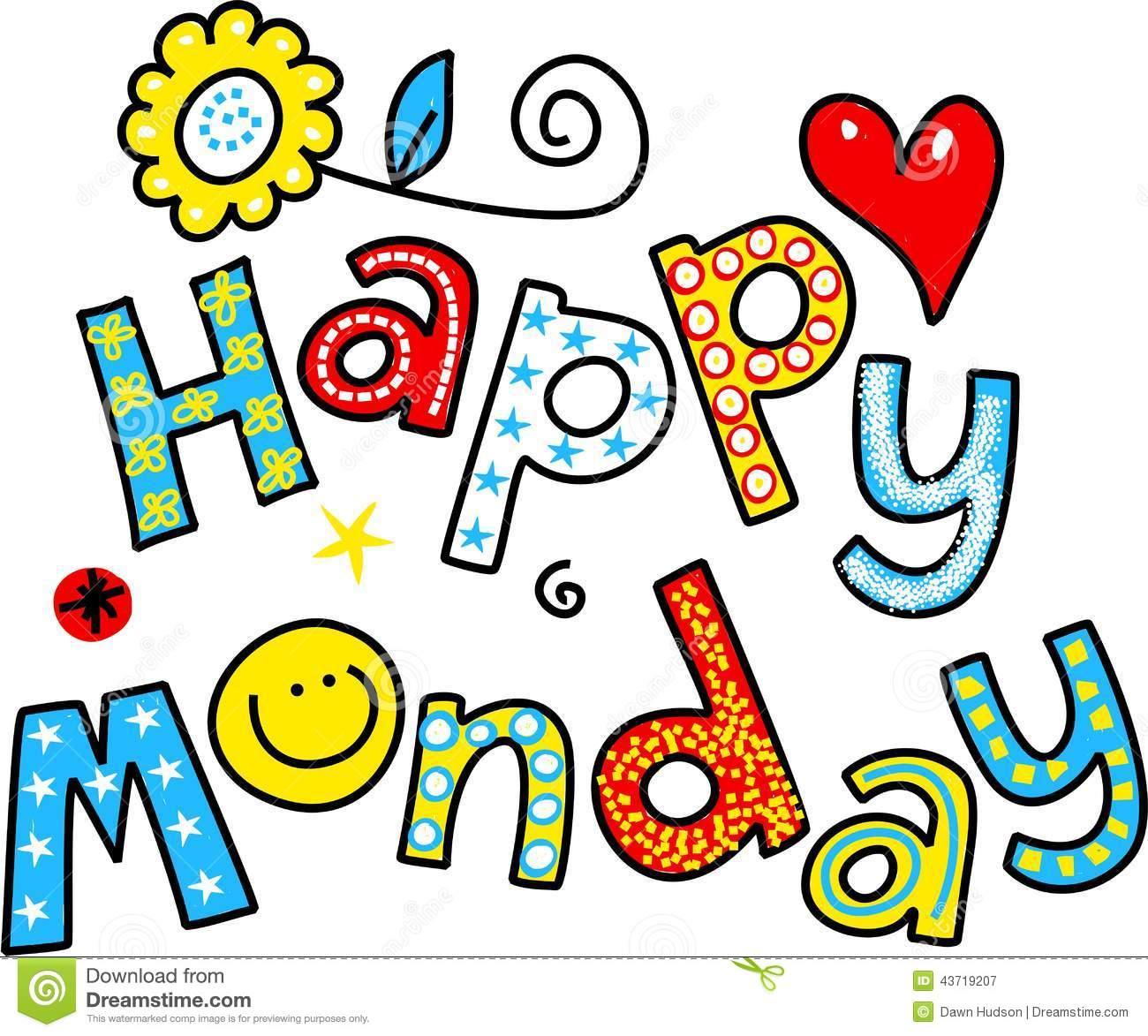 Happy Monday Cartoon Text Clipart Stock Illustration Image 43719207