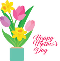 happy mothers day flowers clipart. Size: 130 Kb