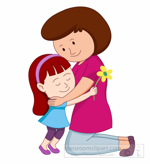 Happy Mothers Day Daughter Giving Flower And Hug To Mother Clipart Size: 107 Kb From: Mothers Day