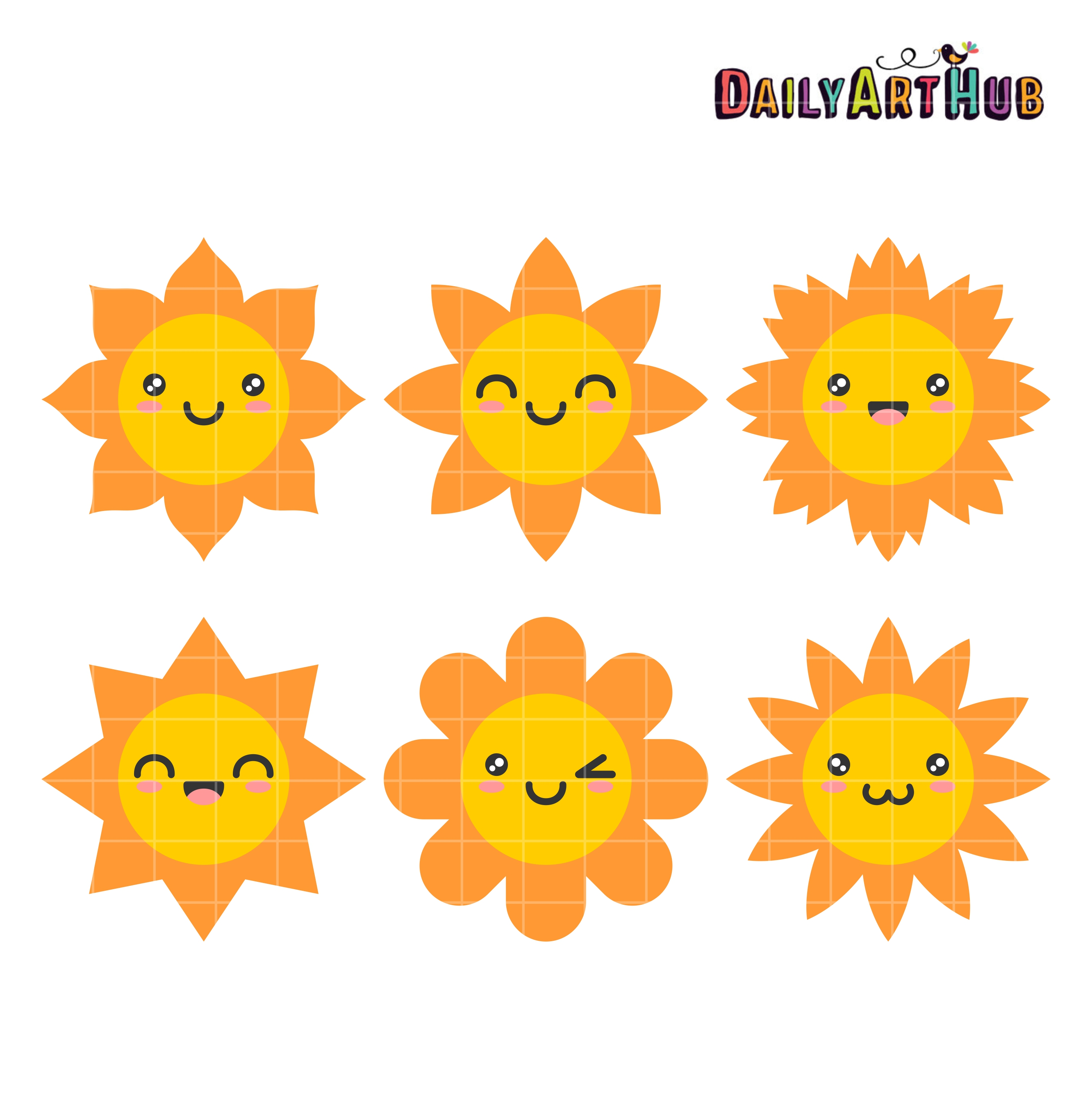 Happy Sun Clip Art Set