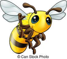 ... Happy waving cartoon bee - Illustration of a cute happy.