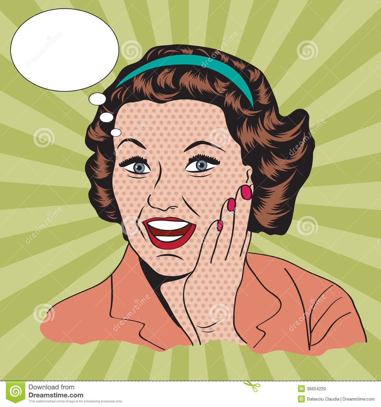 Happy woman, commercial retro clipart illustration Stock Photo