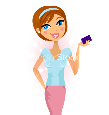 Happy woman with credit card .