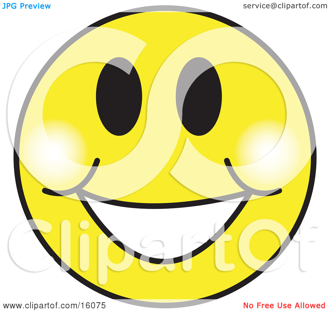 Happy Yellow Smiley Face Graphic With A Big Smile Clipart Illustration by Andy Nortnik