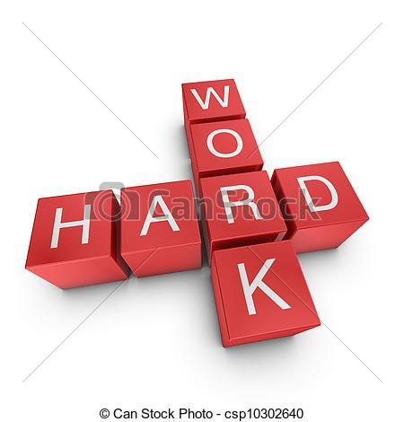 ... Hard work 3D crossword on white background - Hard work.