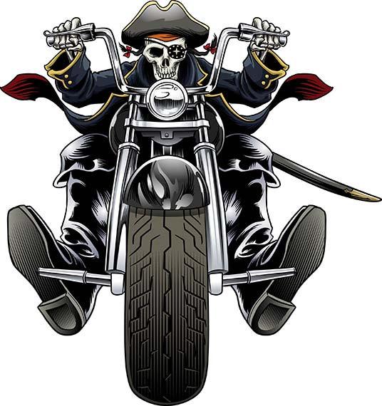Pirate, Biker, motorcycle, chopper, Harley Davidson, Halloween, skull,  skeleton, clip art from GaryKromanArt on Etsy Studio