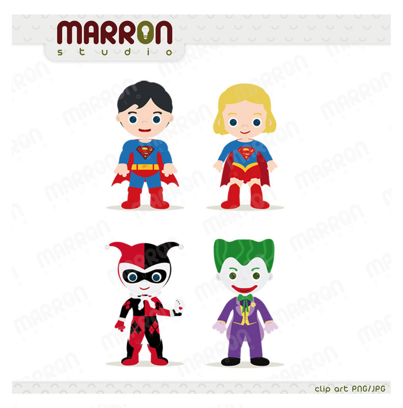 Heroins Superhero Inspired set Superman, Superwoman, Harley Quinn and Joker Clip  Art birthdays Digital