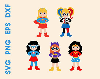 Superheroes SVG Superhero girls Cutting files Cricut Silhouette Instant  Harley Quinn Clipart