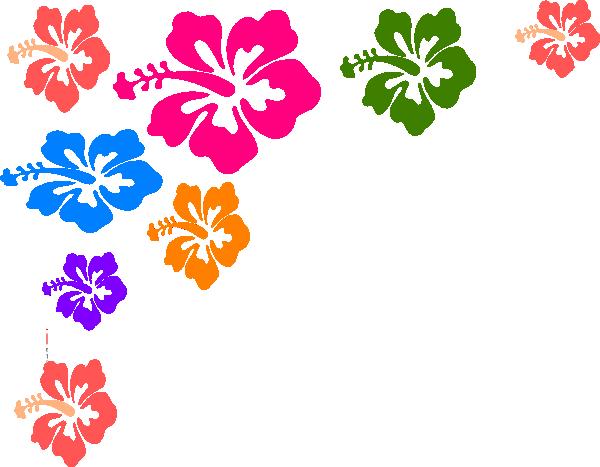 Hawaiian flower border clipart .