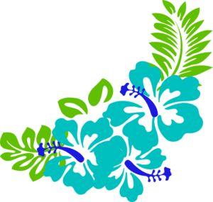 Hawaiian Flower Clip Art | Blue Green Tropical Flowers clip art - vector clip art online