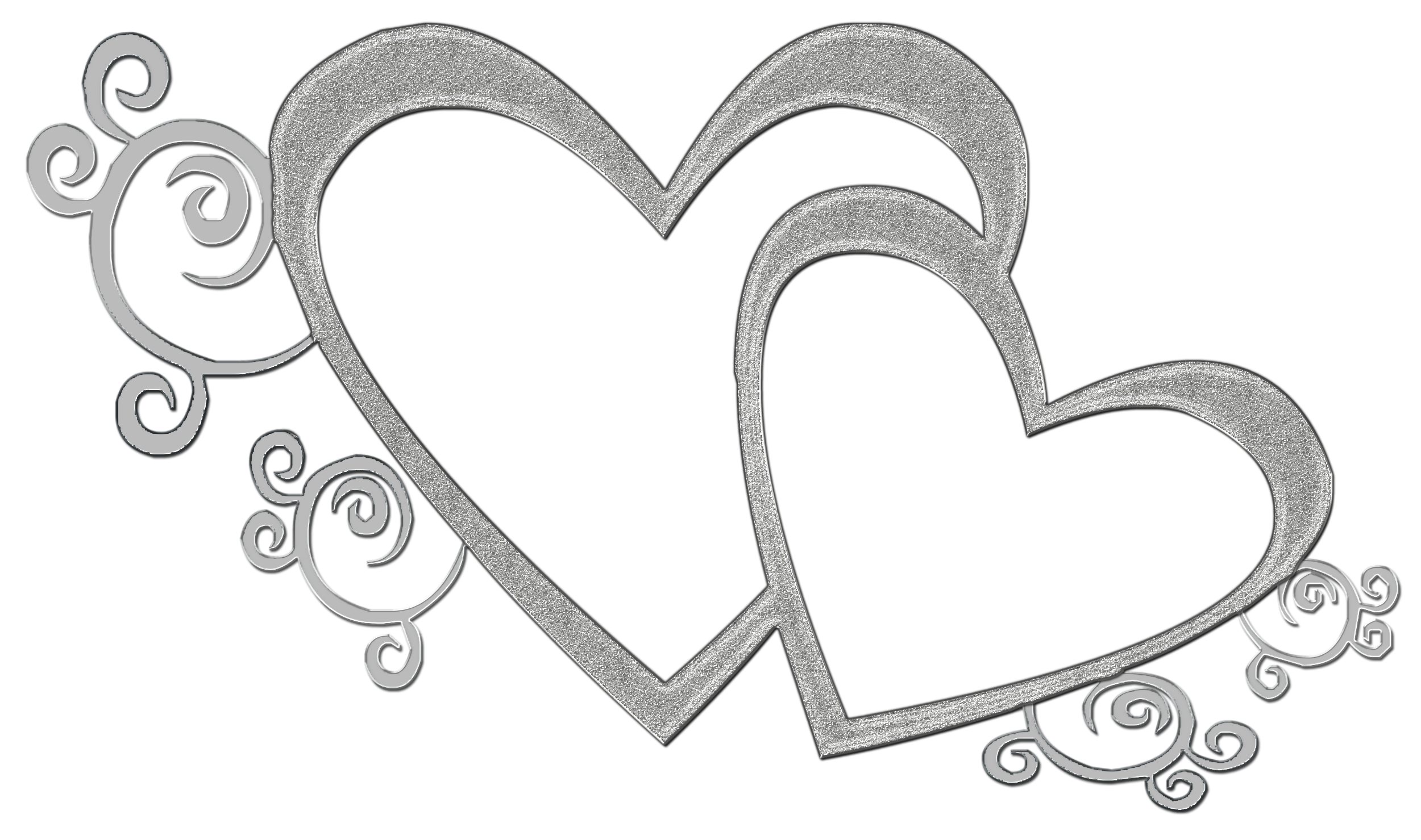 Heart black and white double heart clipart black and white