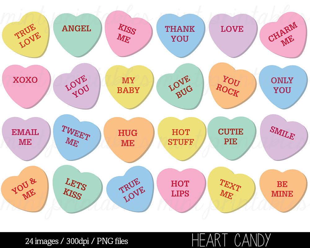 Heart Clipart, Heart Candy Clip Art, Sweethearts Candy Clipart, Conversation Hearts Clipart - Commercial u0026amp; Personal - BUY 2 GET 1 FREE!