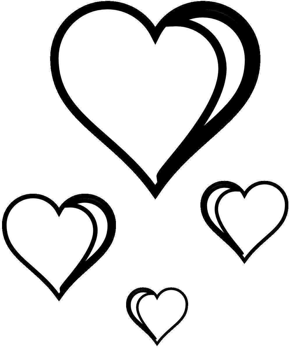 Heart Cluster Sheet Page Black White Line Art Valentine Xochi.info