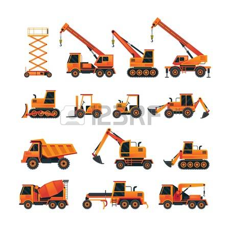 heavy equipment: Construction Vehicles Objects Orange Set, Side View, Heavy Equipment, Machinery