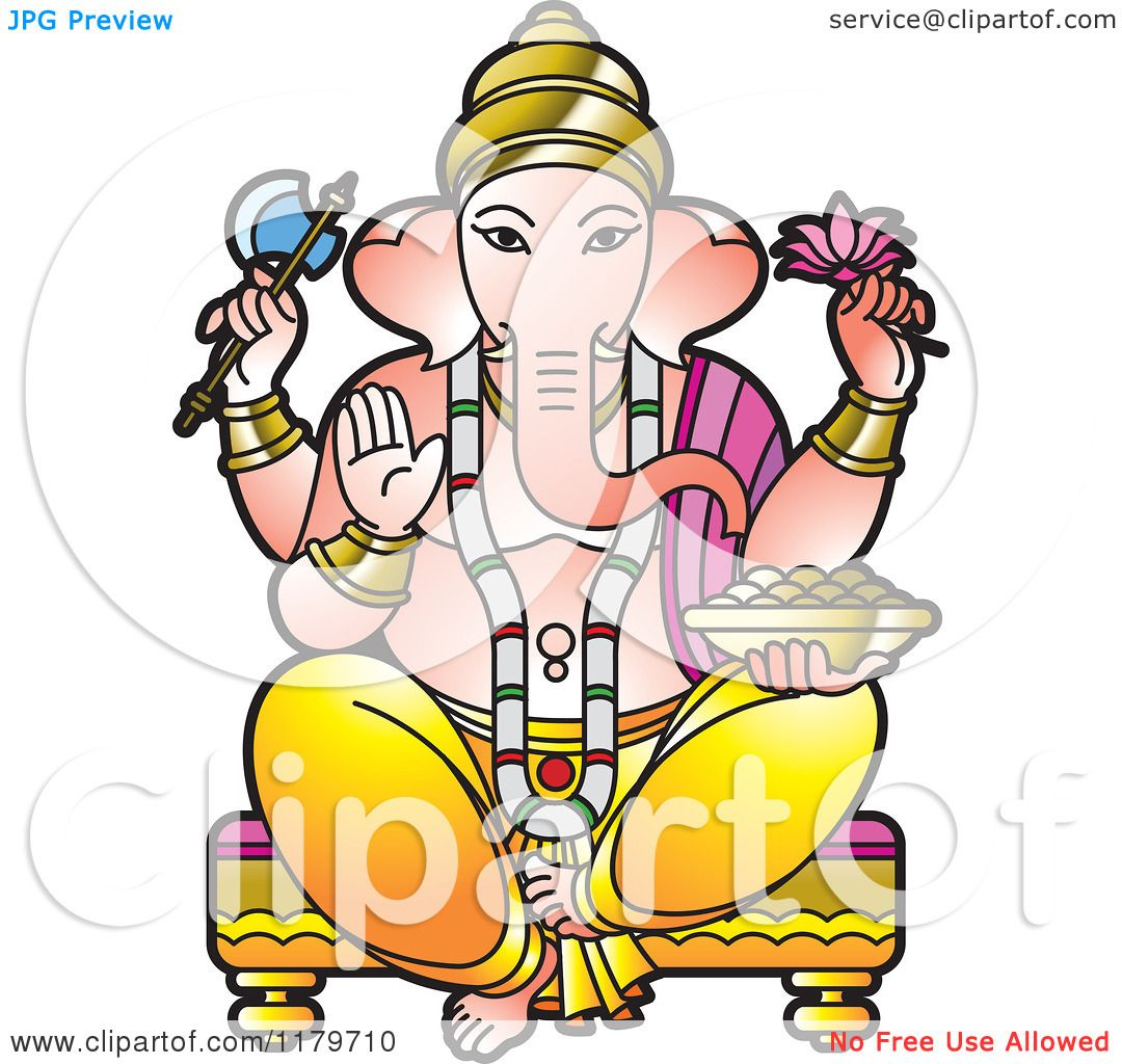 Clipart Of The Hindu Indian God Ganesha Royalty Free Vector Illustration