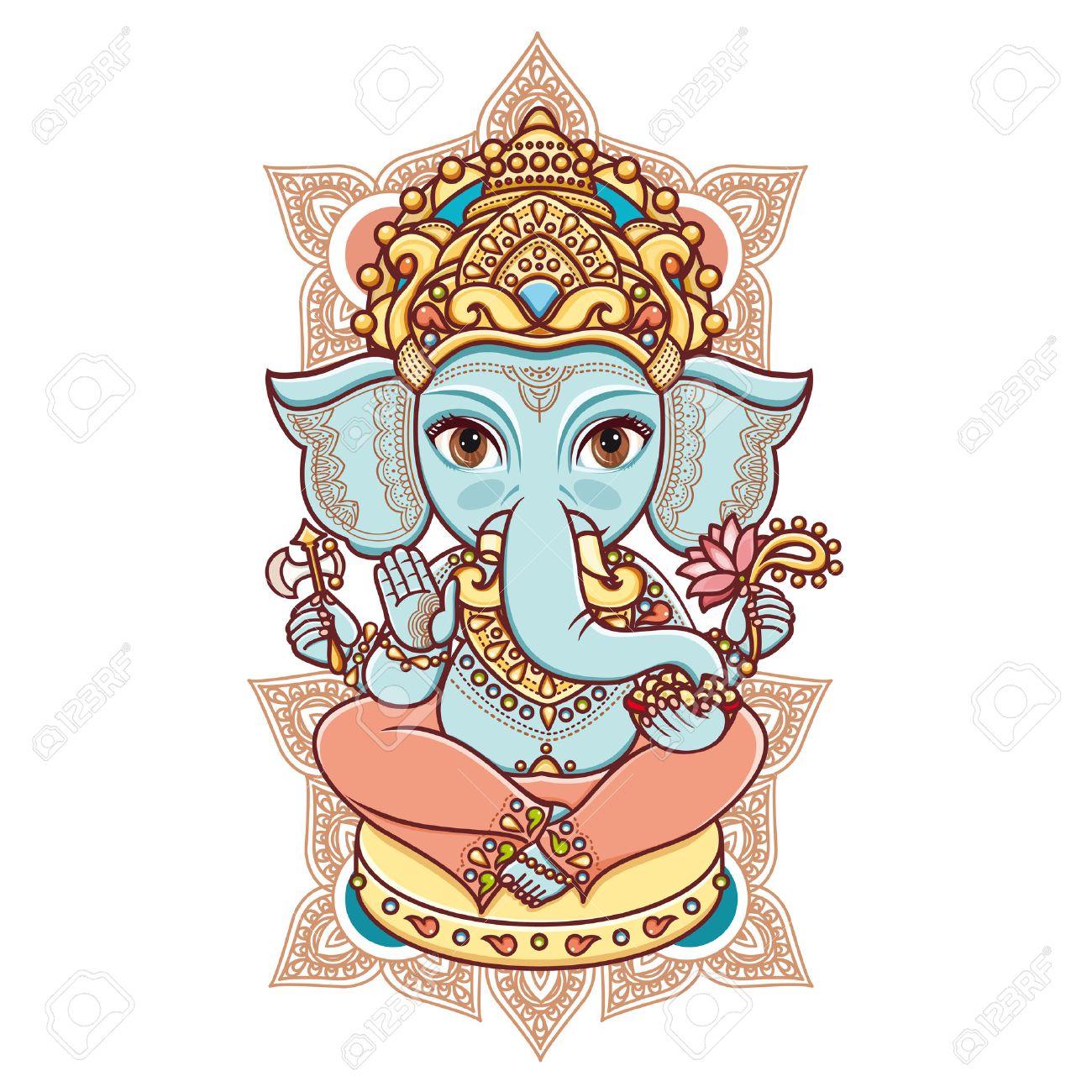 Hindu elephant head God Lord Ganesh. Hinduism. Happy Ganesh Chaturthi.  Vector elements isolated