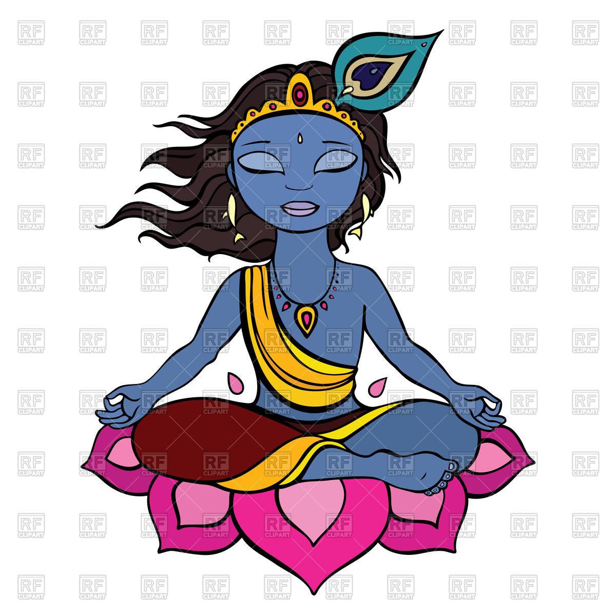Meditation - Hindu god Krishna on lotus flower Royalty Free Vector Clip Art