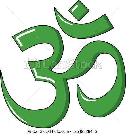 Om symbol of hinduism icon, cartoon style - csp49528455
