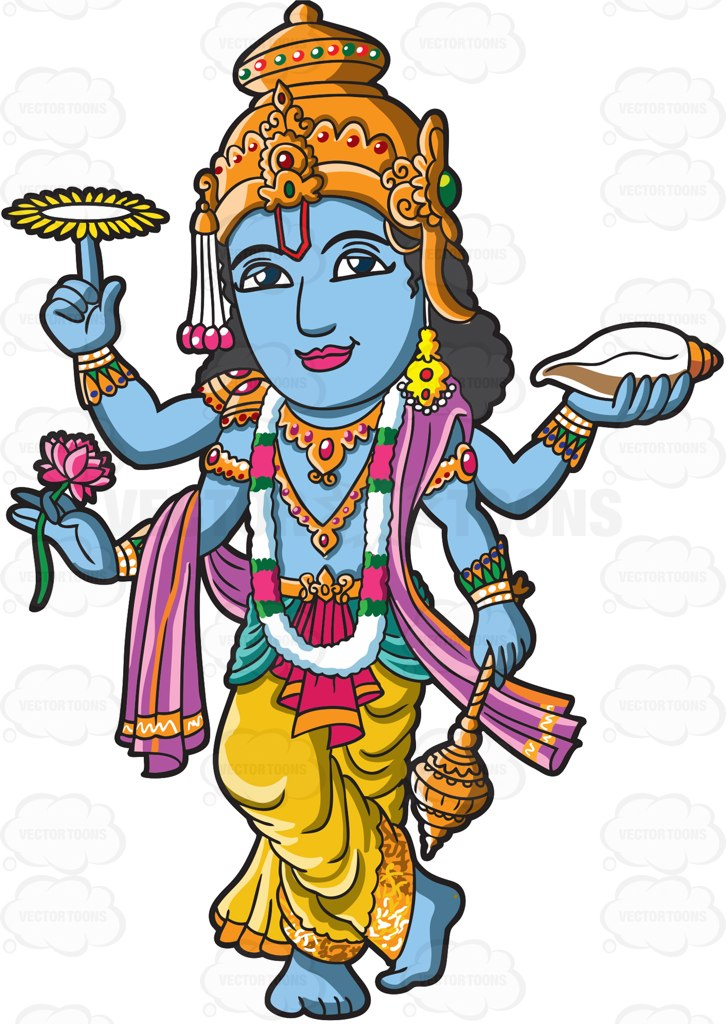 The Hindu God Vishnu Cartoon Clipart - Vector Toons