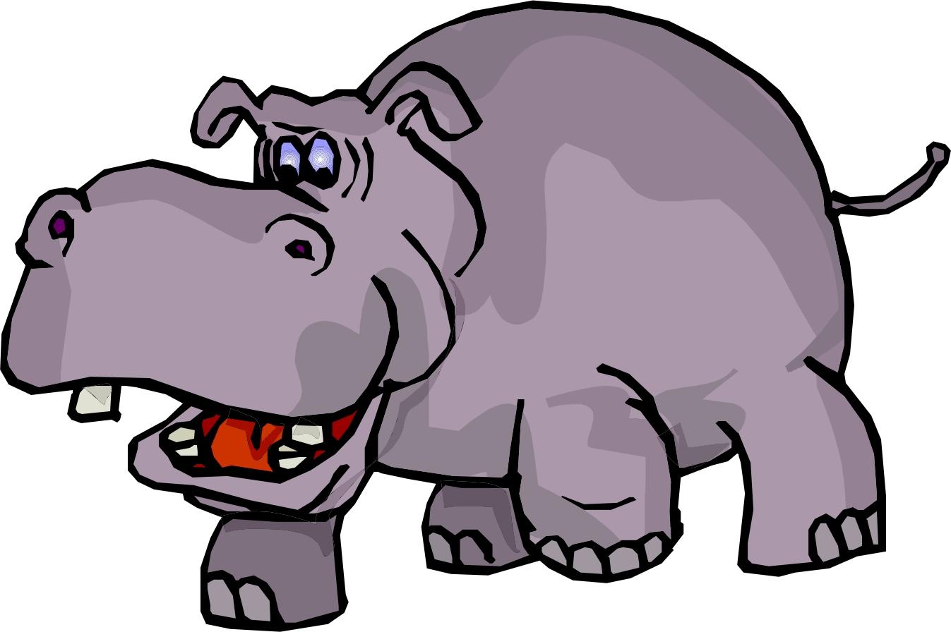 hippo clip art black and white