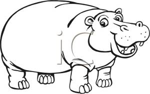 Drawn Hippo Clipart #3