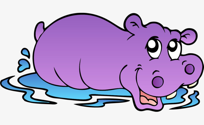 Hand Painted Purple Hippo, Hippo Clipart, Hand, Simple Png Image And in  Hippo