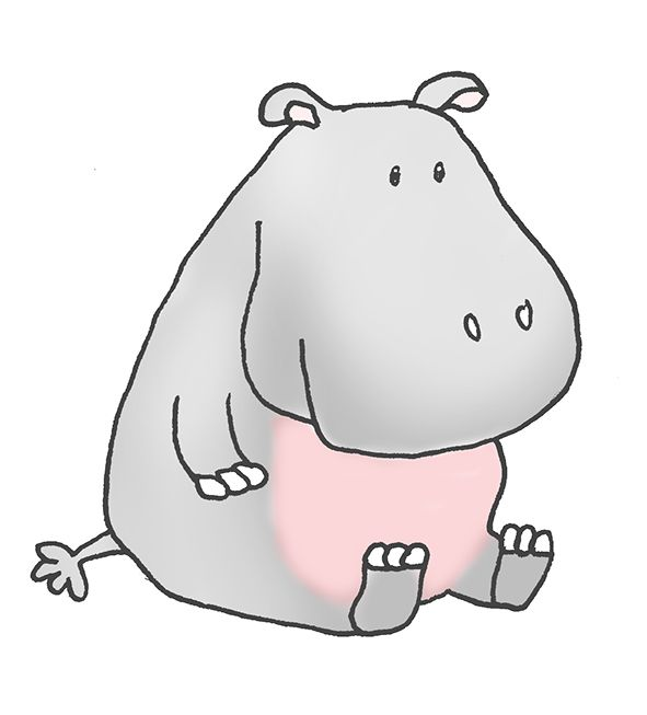 Realistuc Hippo Illustrations | Cartoon Hippo Clipart