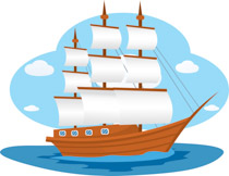 Historic Old Wooden Sail Boat Clipart Size: 154 Kb