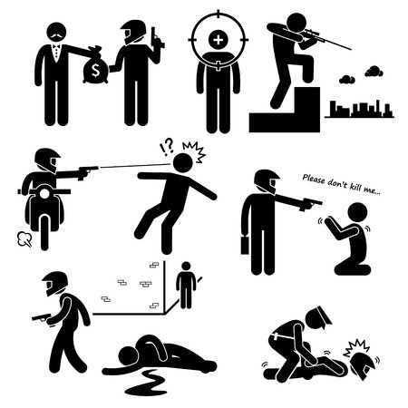 Assassination Hitman Killer Murder Gunman Stick Figure Pictogram Icons  Illustration