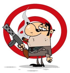 Criminal Clipart Image: Cartoon Gangster Hitman with Tommy Gun Machine Gun
