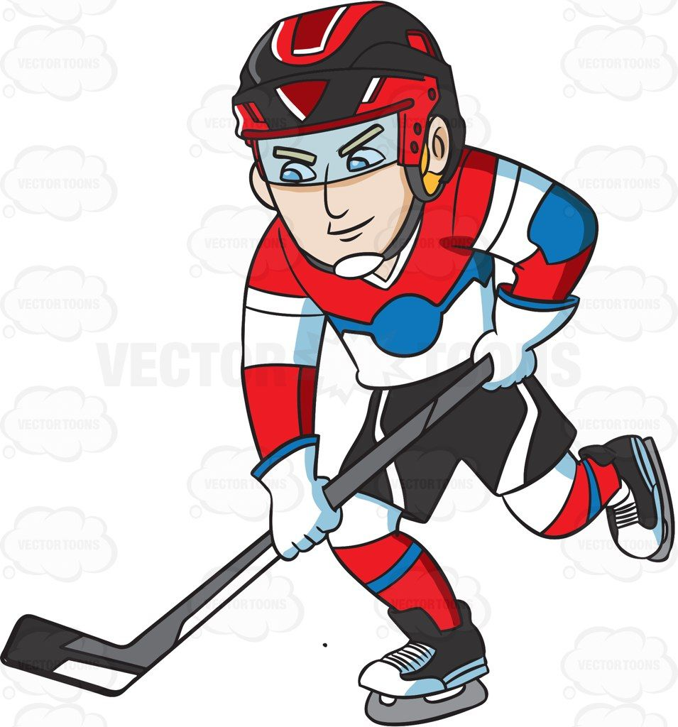 A Hockey Player Practicing Before A Game Cartoon Clipart - Vector Toons
