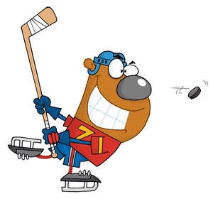 Hockey Clipart Image: A Bear Skating After the Puck in Hockey.