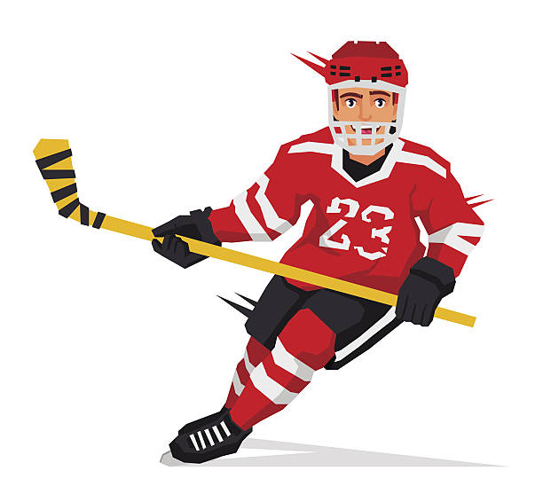 Hockey player with a stick vector art illustration