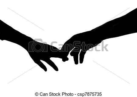 ... Holding Hands - Vector silhouette of two hands touching.
