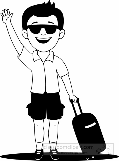 Black White Holiday Man Going On Holiday Clipart – Healing With hdclipartall.com