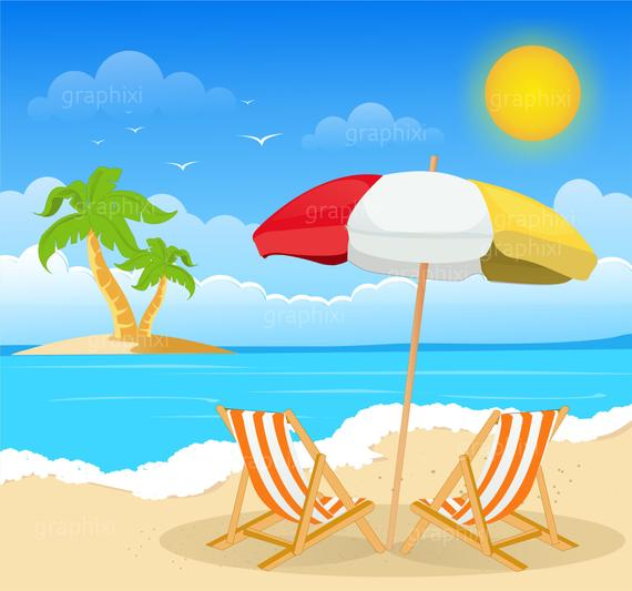 Clipart beach, beach image, summer, holiday, clipart, commercial use,  vector graphics, vacation, seaside, digital clip art,DIGITAL CLIPART