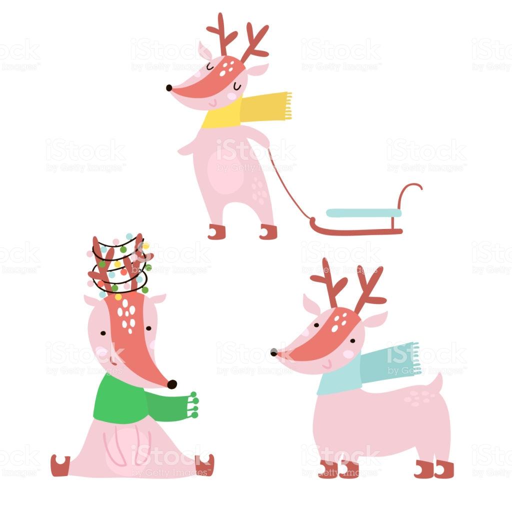 Karikatür Kış Geyikler Aya - Holiday Clipart