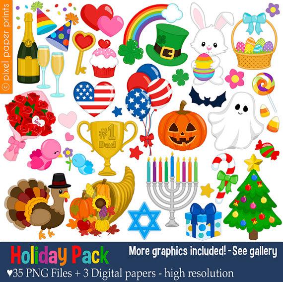 Holiday Pack - Clip art set .