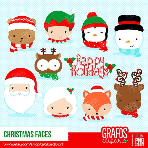 CHRISTMAS FACES - Digital Clipart Set, Merry Christmas Clipart, Holidays  Clipart, Christmas Images from GRAFOSclipart on Etsy Studio