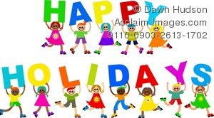 Clipart Illustration of a Group of Happy Children Holding up the Words  Happy Holidays