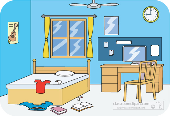 Home Boys Bedroom With Desk Classroom Clipart